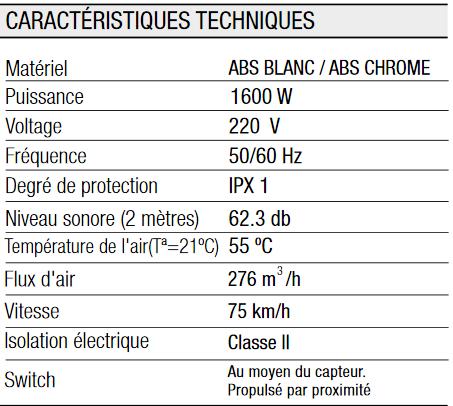 Caractéristiques Sèche Mains Elegance 1600 ABS