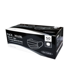 Boite masque 3 couches noir